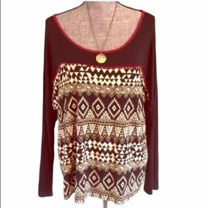 Tribal Top Stretchy Southwest Plus Long Sleeve 3X